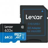 Памет microSDXC Lexar 64GB UHS-I (633x) + адаптер