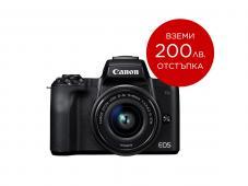 Фотоапарат Canon EOS M50 Black Тяло + Обектив Canon EF-M 15-45mm f/3.5-6.3 IS STM + Гъвкав статив JOBY GorillaPod 1K Kit + Памет SDXC SanDisk Extreme Pro 64GB C10 V30 U3 (170MB) + Микрофон Boya BY-MM1