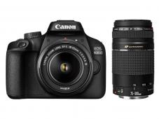 Фотоапарат Canon EOS 4000D тяло + Обектив Canon EF-s 18-55mm f/3.5-5.6 III + Обектив Canon EF 75-300mm f/4-5.6 III USM
